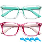 Gafas de bloqueo de luz azul para niños, lentes transparentes para computadora, antifatiga ocular, sin receta (verde+rojo)