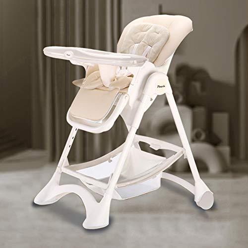 GGJJ ZHZZ El bebé Plegable Silla de Comedor, Multifuncional portátil Simple de niños Mesa de Comedor y sillas Ajustables a Salvo y Seguro Anti-Down Material de Protección Ambiental PP,Blanco