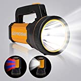 GEPROSMA High 6000 Lumen Powerful Rechargeable Flashlight Handheld Spotlight CREE LED Super Bright Large 4 Batteries 10000mah Ultra Long Lasting Portable Searchlight for Emergency Camping