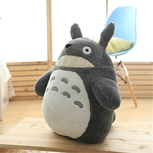 Plüsch-Spielzeug, süßes japanisches Anime-Monster, Totoro, schwarze Katze, Plüschspielzeug für Kinder, Totoro mit Lotusblatt, Kinder-Spielzeug zum Geburtstag (Farbe: Totoro ohne Blatt, Höhe: 37 40 cm)
