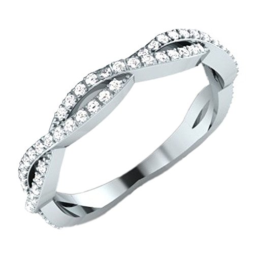 Dazzlingrock Collection 0.20 Carat (ctw) 14K Round White Diamond Ladies Infinity Wedding Band 1/5 CT, White Gold, Size 5.5