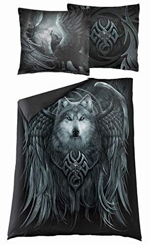 Spiral Wolf Spirit Unisex Bettwäsche Mehrfarbig 100% Baumwolle 135 x 200 cm/80 x 80 cm Gothic, Horror