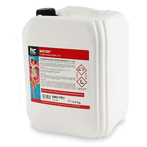 Höfer Chemie Chlor Flüssig 1 x 12,5 kg - Pool Flüssigchlor mit 13 bis 15% Aktivchlorgehalt zur Poolpflege und Wasserdesinfektion - Made in Germany