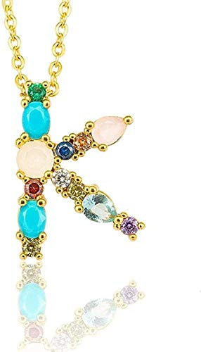Collar K - Exquisito Colgante de Collar con Letra Inicial DIY para Mujer, Colgante con Nombre, Accesorios de joyería creativos, Regalo para Novia