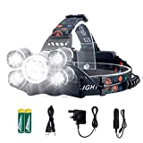 SUVOM Headlamp Rechargeable Head Torch 4 Modes LED Work Headlight Waterproof Flashilght Torch,Recharged by USB/Plug in/Car Charger(All Include),Brightest LED Lamp for Camping,Running,Hiking,Fishing