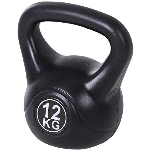 kettlebell homcom Kettlebell da 12 kg per Sport e Fitness in PVC con Sabbia e Maniglia Liscia Anti-Sfregamento