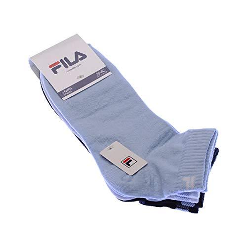 Fila 3 pares de calcetines quarter sneaker socks Trainer unisex 35-46 - colores múltiples: Color: Sky   Size: 39-42