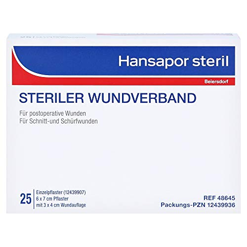 Hansapor steril Wundverband 6 x 7 cm Pflaster mit 3 x 4 cm Wundauflage, 25 St. Wundauflagen