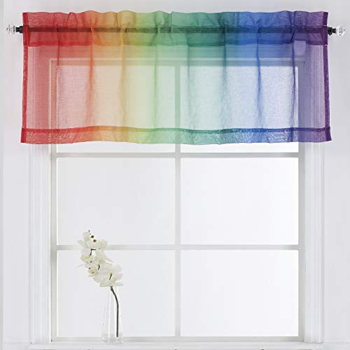 """California Drapes 1 Piece Rainbow Ombre Rod Pocket Sheer Valance for Bedrooms, Playrooms, Nurseries & More (Rainbow, 52"""" X 18"""")"""