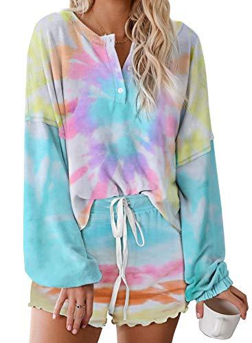 Asvivid Womens Soft Tie Dye Printed Ruffle Summer Lounge Set Soft Tee Shirt and Shorts Nightwear 2PCS Sleepwear PJS XL Sky Blue