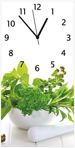 Wallario Glas-Uhr Echtglas Wanduhr Motivuhr • in Premium-Qualität • Größe: 30x60cm • Motiv: Welt der Kräuter - Verschiedene Kräuter in einem weißen Mörser