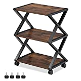 FITUEYES Mobile Printer Stand, Rustic 3 Tiers Storage Shelf Wood and Metal Machine Cart with Wheels, Workspace Rolling Printer Table for Home Office, Vintage Brown, FDO304501WG