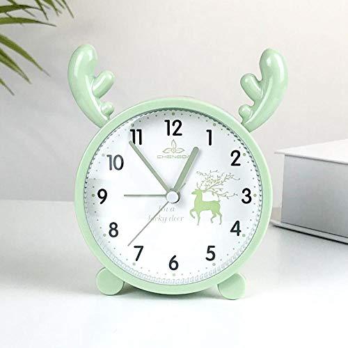 JLCK Silent Alarm Clocks Bedside Non Ticking Table Clocks Battery Powered Travel Clock Loud Alarm Large Display The Best Gift for Children-Green