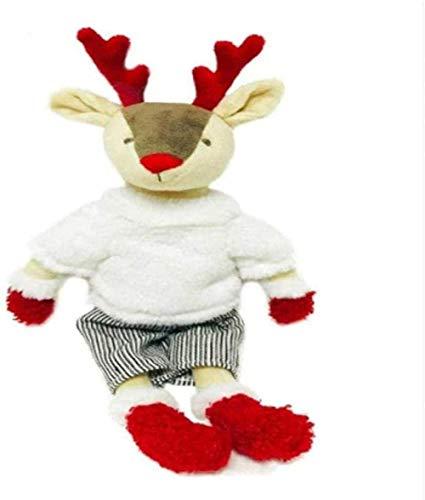 DINGX Plüschspielzeug 33 cm gekleidete Hirschgefüllte Tierpuppe mit Outfit Birhtday Geschenk für Junge Schöne Rentier mit Mantel dekorieren Chuangze