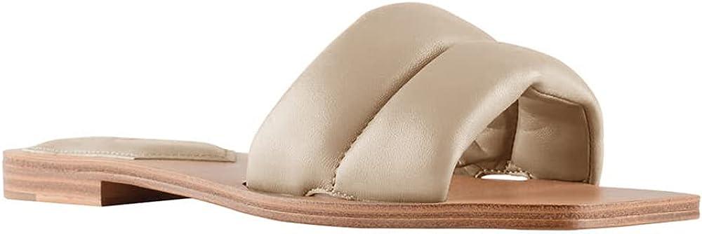 Trish Lucia Womens Slide Sandals Square Toe Flat Sandals Wide Strap Slip-on Sandals Summer Beach Slides