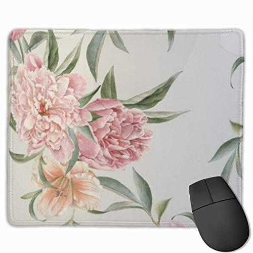 Niedliches Gaming-Mauspad, Schreibtisch-Mauspad, kleine Mauspads für Laptop-Computer, nahtloses Muster mit Blumenmattenblumenmuster mit Pfingstrosen und Lily Peony-Druckbechern
