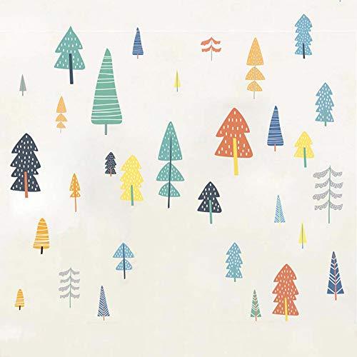Adesivi da parete con alberi della foresta, facili da rimuovere e incollare, multicolore per...