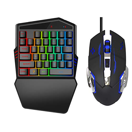 Gaming Keyboard and Mouse Combo,One-Handed Gaming Keyboard and Mouse Combo,USB-Backlit Professional Gaming Mouse, Suitable for Games/iPhone/IPad/iOS/Android Phone
