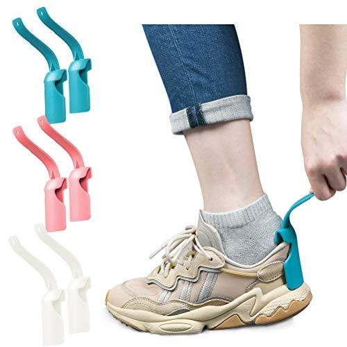 IDEALEBEN 6pcs Aiutante per Scarpe Pigro, Calzascarpe, Calzascarpe, Calzascarpe in Plastica Portatile, Aiutante per Scarpe per Adulti, Bambini e Donne