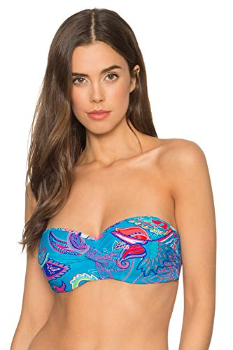 Sunsets Damen Iconic Twist Bra Sized Bandeau Bikini Top Swimsuit Bikinioberteil, Karibische Brise, 80DD