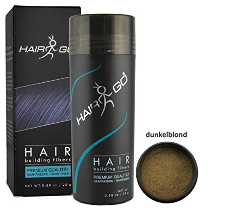 HAIR GO Premium Schütthaar zur Haarverdichtung | Haarpuder | Streuhaar 100% natürlich & vegan, 1er Pack, (1x 25 gr.) (dunkelblond)