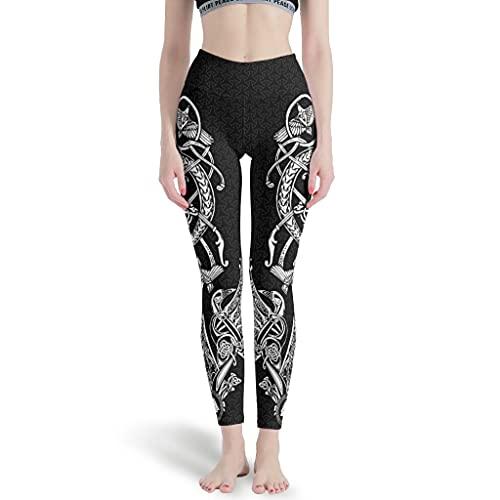 kikomia Pantalones de yoga vikingos, martillo de Odin, cuervos nudos, leggings de yoga para mujer, secado rápido, pantalones de entrenamiento, Blanco 3, XXXL