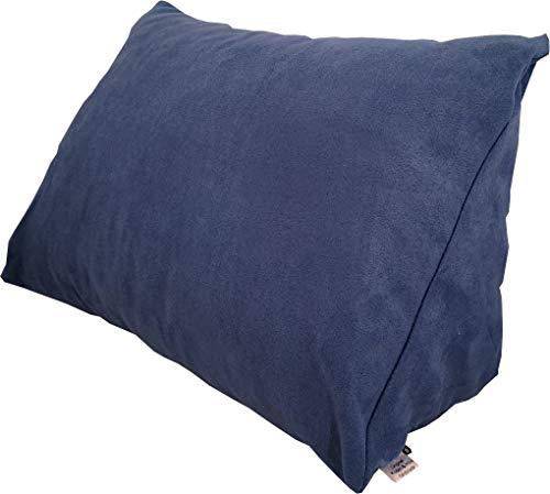 Lesekissen und Rückenstütze in Mikrofaser für optimalen Sitzkomfort, Keilkissen, Nackenkissen, Dekokissen, Fernsehkissen für Bett und Couch, mit Schaumstoffflocken (blau)