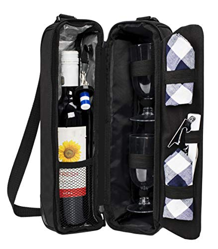 ALLCAMP Wine Tote Bag with Cooler Compartment,Two Sets of Tableware
