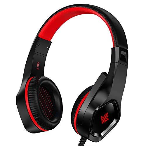 Auriculares Gaming para PS4, Versión mejorada de Cascos ultralivianos,Gaming Headset Estéreo (con micrófono y cancelación de Ruido) ,para PC/Xbox One/Tableta/Teléfono Móvil/Nintendo Switch(Rojo)