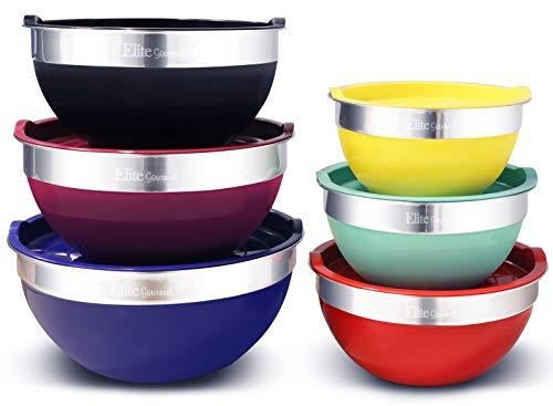 Elite EBS0012 12Piece Multicolor Mixing Bowls MultiColor