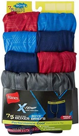 Hanes Boys 7-Pack X-Temp Performance Cool Regular Length Tagless Assorted Boxer Briefs