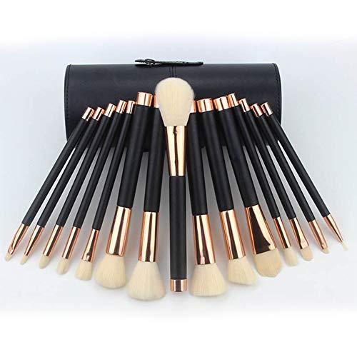 Brosse maquillage cheveux fibre 15 pcs seau brosse PU serti pinceau fond de teint blush brosse à sourcils ombre à paupières