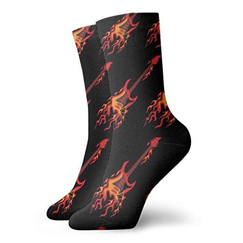Calcetines de anime volar ardiendo guitarras suaves de secado rápido transpirable deportes calcetines unisex de la tripulación calcetines de 30 cm