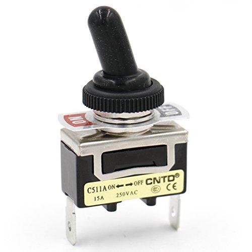 Heschen Interrupteur SPST en métal avec position maintenue On/Off 2 bornes de connexion et housse étanche 15 A 250 V CA