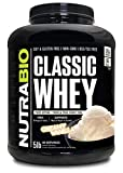 NutraBio Classic Whey Protein Powder- 25G of Protein Per Scoop - Full-Spectrum Amino Acid Profile - No Fillers, Artificial Colors, Preservatives - Low Glycemic Index - Creamy Vanilla, 5 Pounds