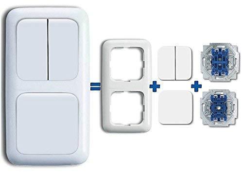 Komplett-Set BUSCH-JAEGER, Serienschalter & Wechselschalter -Reflex SI- Alpinweiß