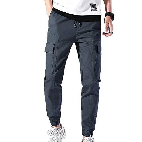 Generic11 Mono de salón con múltiples Bolsillos para Hombre, cómodos Pantalones de Cintura elástica, Pantalones de Carga elásticos Resistentes al Desgaste Salvaje
