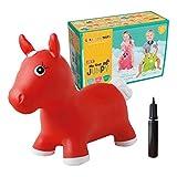 GERARDO`S Reiten auf dem Pferd. Hüpftier für Kleinkinder. Aufblasbares Hüpfpferdchen Rot.