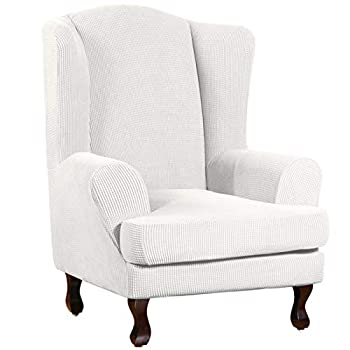 Turquoize Wing Chair Slipcover Wingback Armchair Chair Slipcovers Sofa Covers 2-Piece Spandex Fabric Wing Back Wingback Armchair Chair Slipcovers Wing Chair Off White