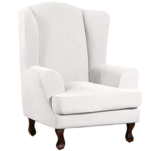 Turquoize Wing Chair Slipcover Wingback Armchair Chair Slipcovers Sofa Covers 2-Piece Spandex Fabric Wing Back Wingback Armchair Chair Slipcovers(Wing Chair, Off White)