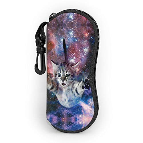 Cute Novelty Funny Galaxy Space Cat Glasses Case with Carabiner, Ultra Light Portable Neoprene Zipper Sunglasses Eyeglass Soft Case with Belt Clip