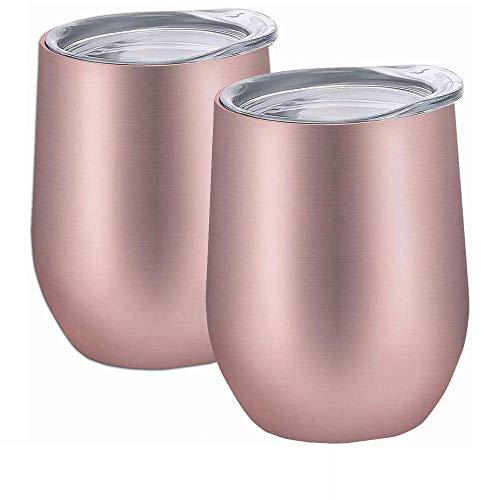 Taza Termo, Vaso Térmico de Doble Pared Aislado al Vacío, Acero Inoxidable - 2 piezas Rosa 12oz (350ml)