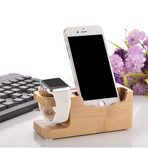 LCM Soporte de Cargador USB de Madera de bambú de 3 Puertos, Cuna multifunción/estación/Muelle/Soporte, Compatible iPhone XS MAX XR X 8 6S Plus Watch IWATT,Euro Plugs