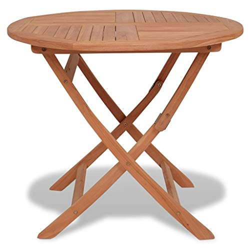 vidaXL Solid Teak Folding Outdoor Dining Table Round Garden Patio Furniture