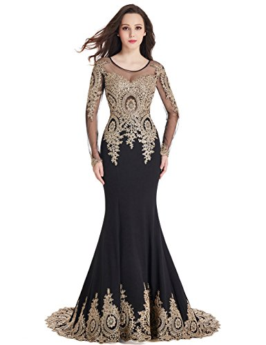 MisShow Women's Rhinestone Applique Long Sleeve Mermaid Evening Dress Plus Size,Black,16
