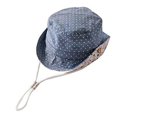 GEMVIE Fischerhut UV-Schutz Sonnenhut Baby Jungen Mädchen Strandhut Sommerhut mit Kinnband Bucket Hat Blau 54