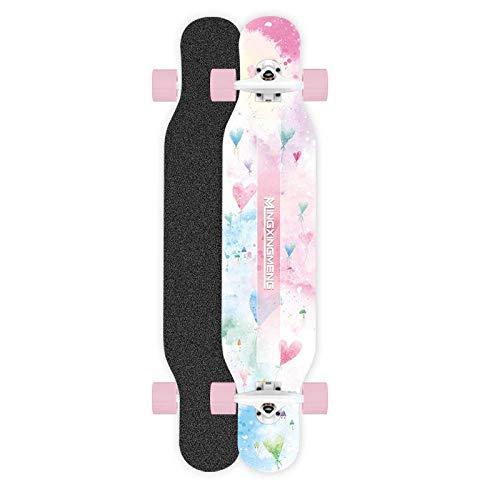 VByge Skateboard Professionelle Board Girls Anfänger Big Dance Board Penny Board Erwachsene Teenager Vier Runden Longboard 117x25cm Pink Blau