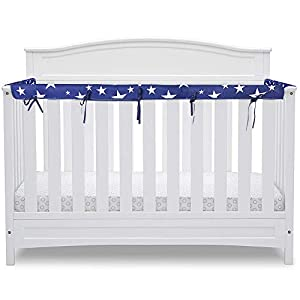 3-Piece Baby Crib Rail Cover Protector Set,for 1 Front Rail and 2 Side Rails,100% Silky Soft Microfiber Polyesterr,Safe and Secure Crib Rail Cover(Blue Star)