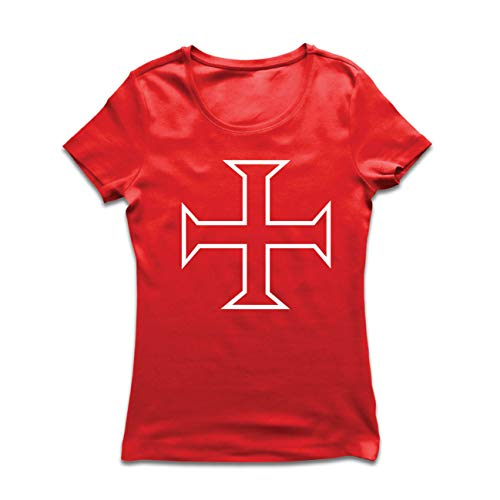 lepni.me Frauen T-Shirt Die Tempelritter Rotes Kreuz Arme Mitmenschen-Soldaten Christi (XX-Large Rot Mehrfarben)