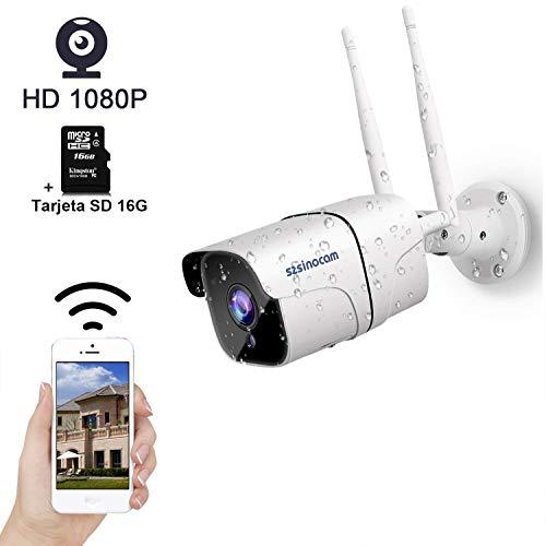 SZSINOCAM Cámara de Vigilancia Exterior WiFi,Cámara de Seguridad con Tarjeta SD 16G,Visión Nocturna,Empuje de Alarma,Detección de Movimiento, Audio Bidireccional,Vista Remota con Android/iOS/PC